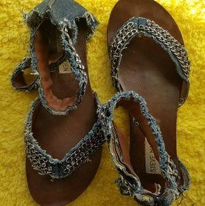 Steve Madden denim flat sandals